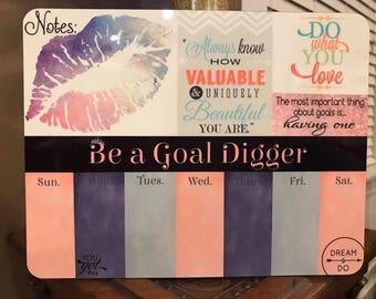 Lip Print Goal Digger Dry Erase Planner Board