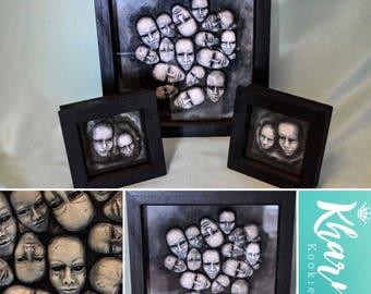 "3 Piece Set Macarbe Art ""Lost Souls"" OOAK Creepy Doll Hallowen Macarbre Art Dark Art Gothic Emo Mixed Media"