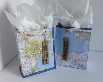 Set of 2 Michigan Map gift bags upper and lower / gift wrap / birthday bag / wedding gift bag / recycled Detroit