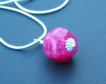 Pink Agate Wire Wrapped On A Silver Plated Chain - Passion