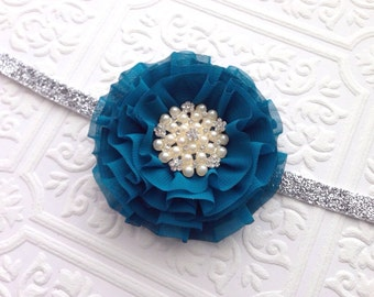 The Teal Chiffon Dream Headband or Clip