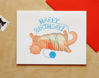 Cat with Yarn Happy Birthday Letterpress Card