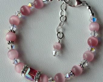 Cat Eye and Swarovski  Crystal  Cube Sterling Silver Children Bracelet