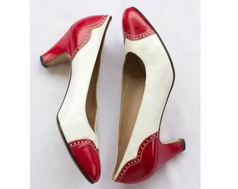 Ferragamo red and white leather spectator pumps