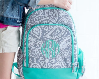 Parker Paisley Girls Monogrammed Backpack, Monogram Book Bag, Back to School