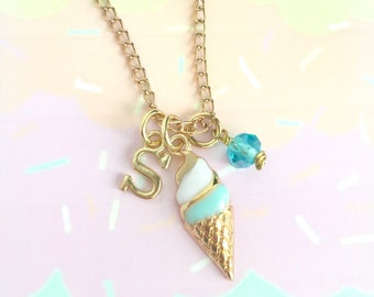 Ice cream initial necklace - personalized ice cream necklace - ice cream cone necklace - Ice cream jewelry - summer necklace - food jewelry
