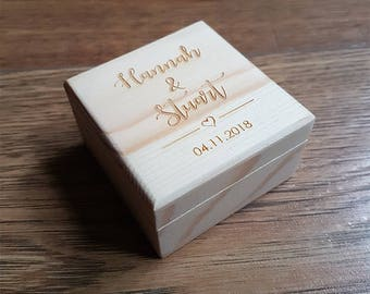 Wedding Ring Box, Wooden Ring Box, Ring Bearer Box, Small Wooden Box, Personalised Ring Box, Proposal Ring Box, Wooden Jewellery Box