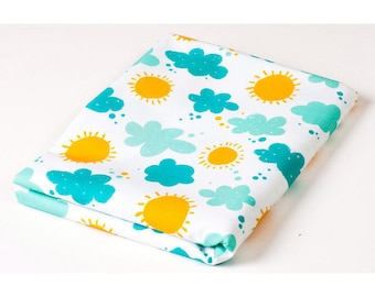 100% cotton fabric printed coupon 50cm fabric x160cm children with the Sun on a summer clouds