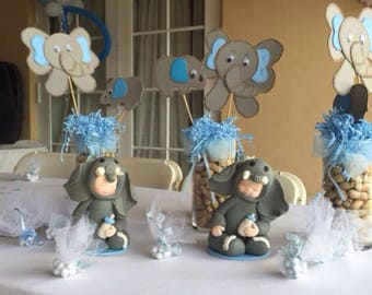 Elephant Theme Baby Shower Centerpiece made out of porcelain clay. Custom made Centerpieces, Unique Centerpieces, OOAK Centerpiece.
