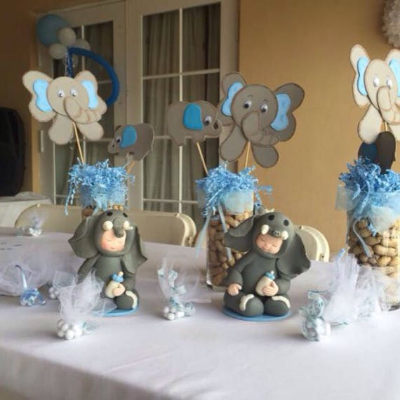 Elephant Theme Baby Shower Centerpiece Made Out Of Porcelain