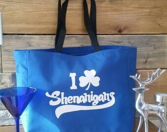 Irish clover leaf tote bag - shenanigans Irish bag - polyester crafting tote bag - Irish themed bag - original design Irish colver leaf bag