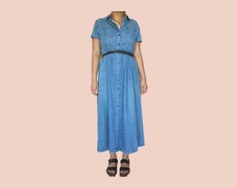 denim button down maxi dress // size womens medium
