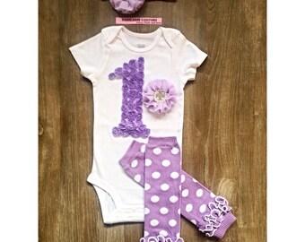 1st Birthday Girl Outfit, Legwarmer Birthday Outfit, Lavender 1st Birthday Outfit, Lavender Cake Smash Outfit, Purple 1st Birthday Outfit
