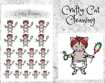 Crafty Cat Cleaning Planner Stickers, Hand Drawn character, Cleaning Stickers, Planner Stickers