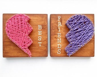 MADE TO ORDER Best Friends String Art, Wood Sign, bff, Birthday Gift, Wall Hanging, Wall Art, Gift for Her