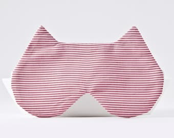 Red Striped Sleep Mask, Cat Lover Gift, Sleep Mask for Women, Red Blindfold, Soft Eye Mask, Gifts For Her, Bachelorette Party Favors