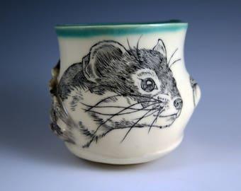 Handpainted Weasel Woodland Teabowl, Handmade Pottery, Ceramic Teabowl, Small Bowl