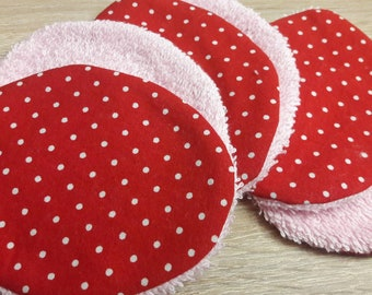 Washable and reusable wipes. Bundle of 6. Dots. Navy blue, coral. Eco friendly. Zero waste.