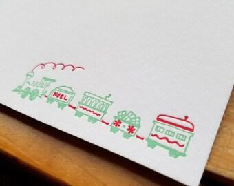 Christmas Train Flat Notecards Set of 10