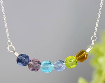 """SALE - Colored Glass Rainbow Bead Necklace - 16"""" Choker Style Sterling Silver Swing Necklace - Birthday Gift for Teen, Woman - Ready to Ship"""