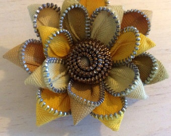 Yellow Recycled Vintage Zipper Brooch Flower