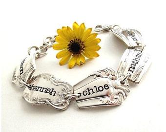 Personalized Bracelet Silverware Bracelet Spoon End Bracelet Hand Stamped Bracelet Vintage Silverware Bracelet Silverware Jewelry Spoonerz