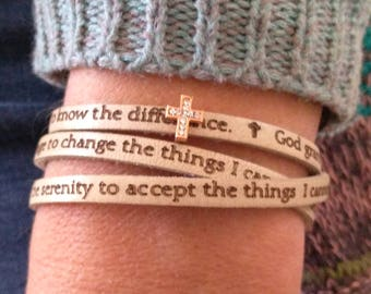 Serenity Prayer Leather Bracelet, Custom leather jewelry, Friendship, Sobriety, Comfort, Encouragement, Inspirational