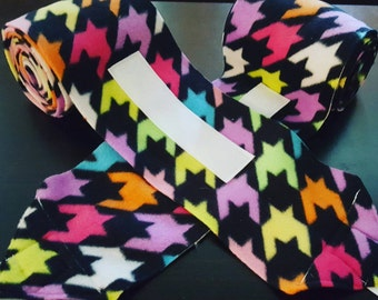 Colorful herringbone-esque style polo wraps for horses