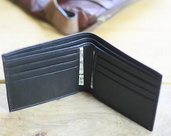 Mens Wallet, Bifold Wallet, Black Wallet, Personalized Gift, Leather Wallet, Minimalist Wallet, ID Wallet, Pocket Wallet, Thin Wallet