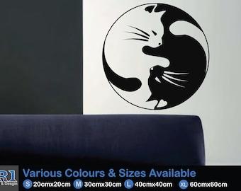 Cat Yin & Yan Symbol Wall Decal