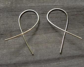 Fish hoop earrings, modern wire hoop earrings, simple wire earrings, wire threaders