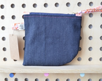 Denim zipped pouch, zippered pouch, purse, make up bag, pencil case, pouch with pink and orange floral patterned tabs
