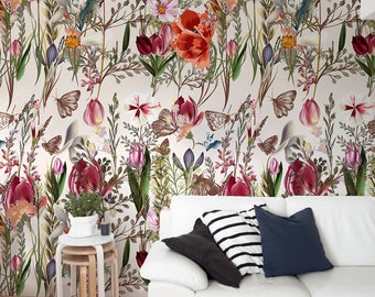Pro-Vance Vintage Wallpaper, Temporary Wallpaper, Floral Wallpaper, Peel and Stick Wallpaper, Removable, Wall Paper Removable - A212