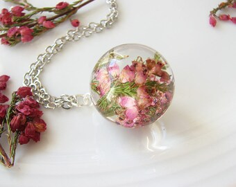 Real Flower Necklace Resin Jewelry Real Flower Jewelry Heather Necklace Resin Necklace