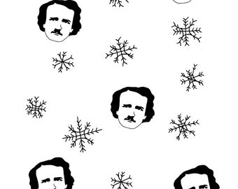 Let it Poe // set of 5 Edgar Allan Poe christmas cards