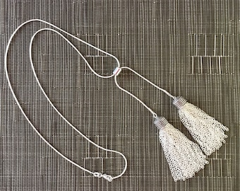 """Sterling Silver 20"""" Necklace with 2"""" Handmade Sterling Tassels and Slider Bead"""