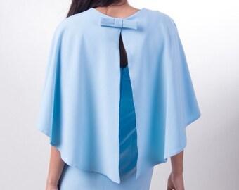 Cape dress Blue Party dress • Work dress dress • Dress on an output • Coctel Dress