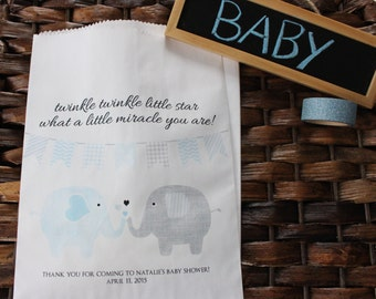 Baby Shower Favor Bags. Set of 20 customized baby shower favor bags.