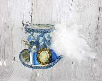 Blue. White, and Green Floral Fairy Cameo Empress Collection Large Mini Top Hat Fascinator, Alice in Wonderland, Mad Hatter Tea Party, Derby