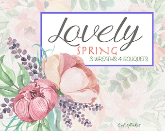 Lovely Spring watercolor Clipart ,Floral wreaths clipart ,Floral Bouquets clipart,Spring,Wedding Clipart,spring flowers,Mother's Day Clipart