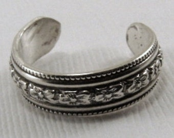 Sterling Silver Toe Ring - Any size, Pattern Toe Ring, Silver Toe Ring, Sterling Toe Ring