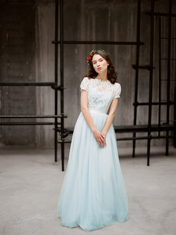 Blue Wedding Dress With Short Sleeves Ilaria Colored Tulle Gown Lace Boho Fairy Milamira