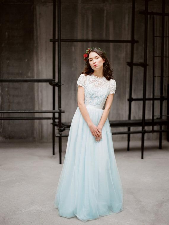 Blue wedding dress with short sleeves ilaria blue wedding dress with short sleeves ilaria colored tulle wedding gown lace wedding dress boho wedding dress fairy wedding milamira junglespirit Images