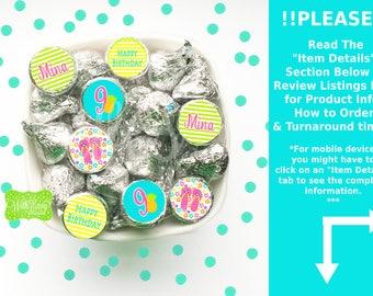 Luau Chocolate Kiss Stickers - Hawaiian Luau Stickers - Tropical Luau Candy Stickers - Luau Favor Stickers - Digital & Shipped Available