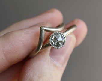 Moissanite Engagement Ring, rose cut 14k White Gold, handmade engagement, eco friendly diamond alternative, milgrain bezel, wedding ring set