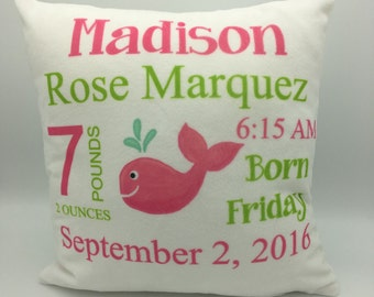 Baby Pillow | Baby Announcement  | Baby Stats Pillow | Custom Baby Pillow | Keepsake Gift | New Parent Gift | Personalized Baby  | Baby Gfit