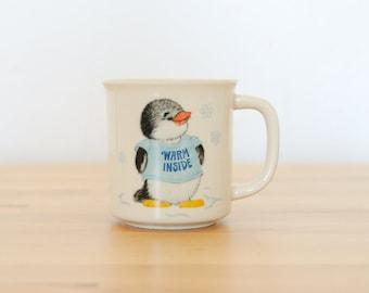 Chemise Vintage contes Mug • poinçon bande dessinée pingouin • 1980 Japon Kawaii • enfant des années 80 • Kei Pop bleu Pastel Decora • Hanna-Barbera