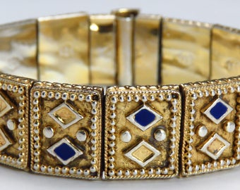 1910-1950's Middle Eastern Sterling Silver Blue Enamel Bracelet