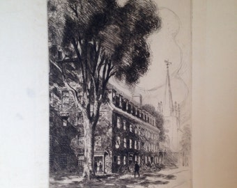 Town in one point perspective by Walter Duff