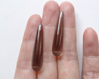 Smoky Quartz Half Top drilled Smooth Long Teardrop Briolettes 8x30 mm One Pair J6343